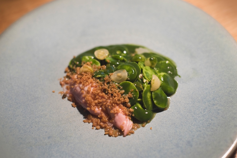 Sodam chicken, fava beans and lovage.