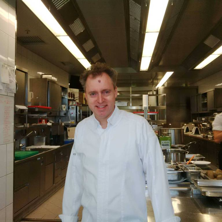 Chef Sven Elverfeld in his kitchen
