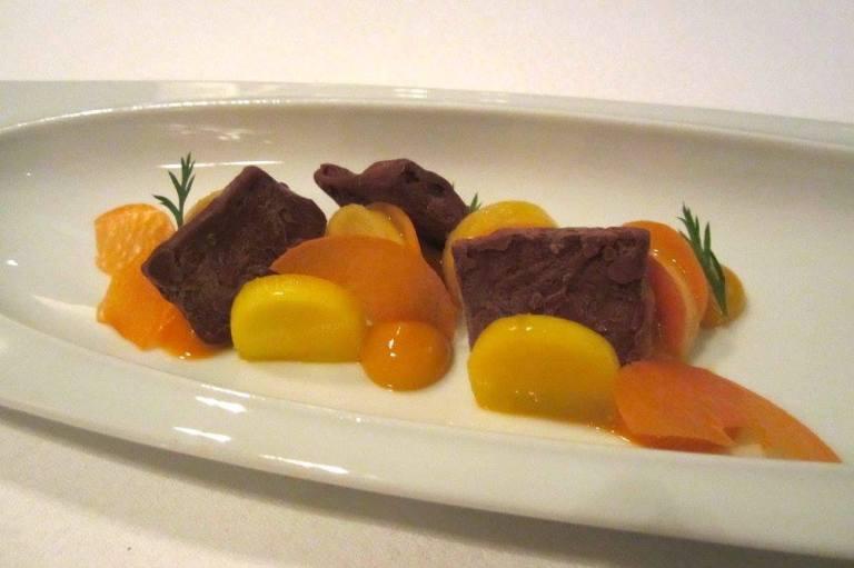 Pickled carrots, mango & manjari chocolate