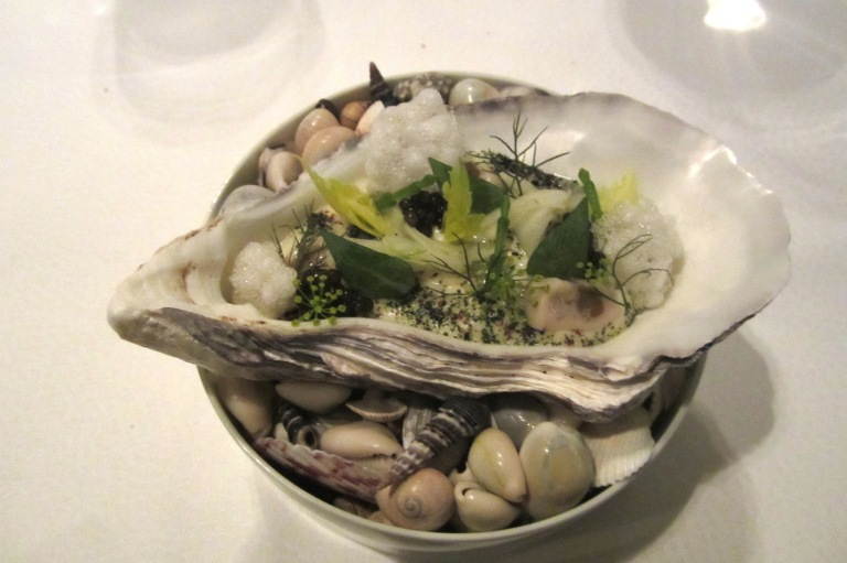 Gillardeau oyster - poached & raw marinated. Calf's head, fennel & salicornia