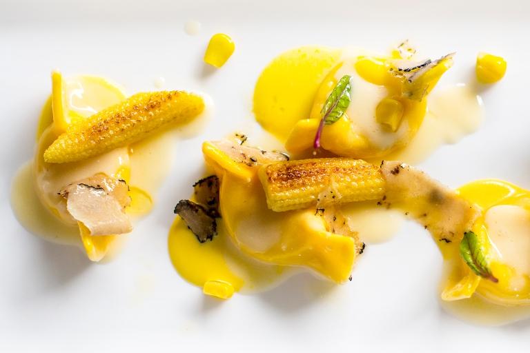 Casoncelli with Taleggio, corn cream and black truffle. Photo: Fabrizio Donati