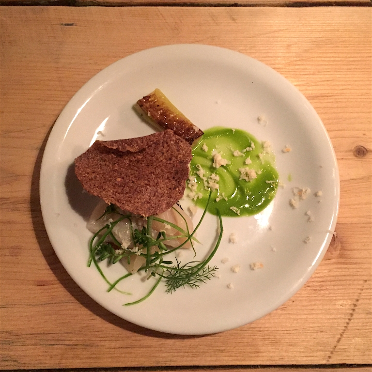 Tradito. Scottish scallop, dill and horseradish with buckwheat tostadas