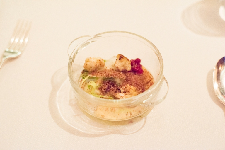 Organic cauliflower, warm mid course with dried reindeer and pickled lingonberries, lemon thyme - Sasu Laukkonen
