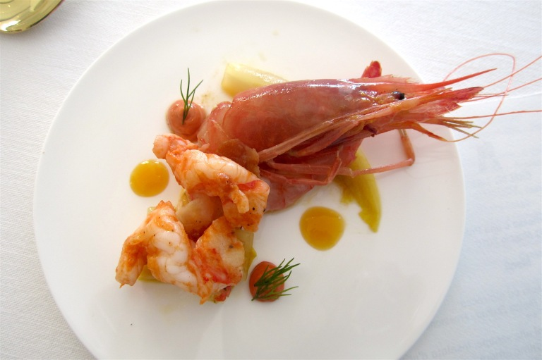 Red shrimp from Ponza island cooked and raw, chiccory, passion fruit and mayonnaise with shrimp and guanciale – Maurizio De Filippis, Riso Amaro (Latina) **