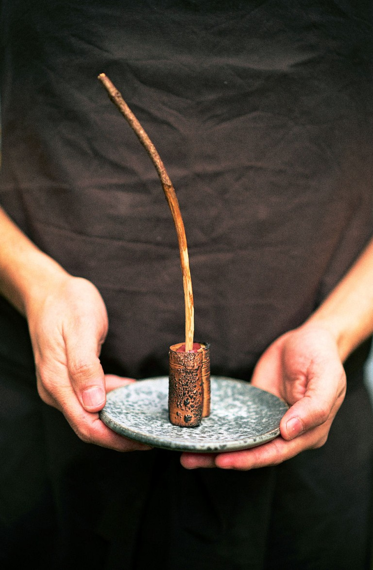 Deer heart, smoked and marinated in birch salt and birch syrup, wrapped in birch bark and fire cooked. Photo: NLF