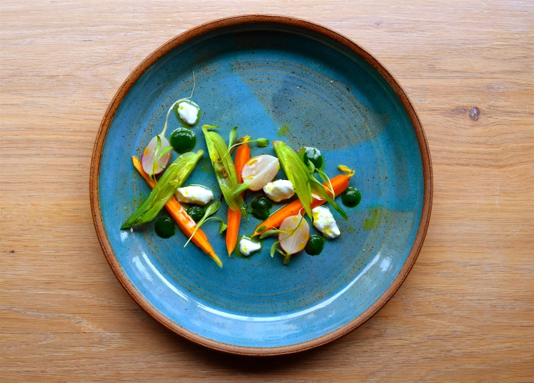 Nettles, baby vegetables, goats curd. Photo: Edel McMahon