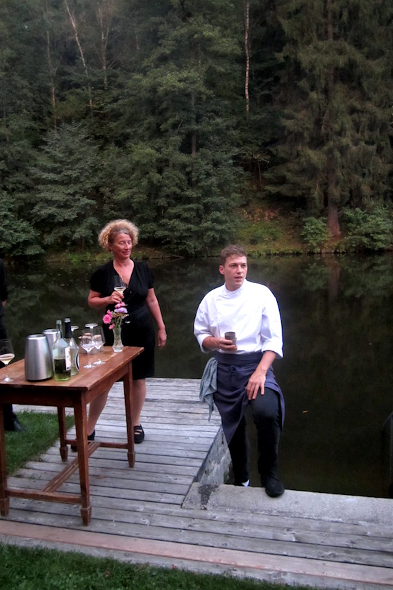 Chef Philip Rachinger welcoming the guests at the river in front of the restaurant