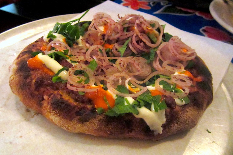 Lamb offal flatbread