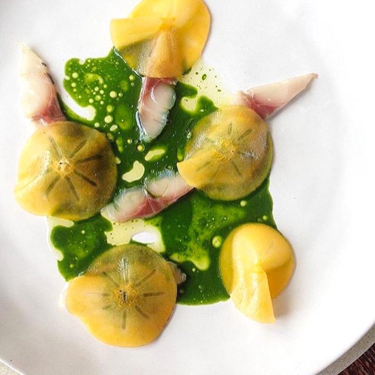 Persimmon, Nasturtium & Horse Mackerel